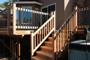 cedar deck stairs railing